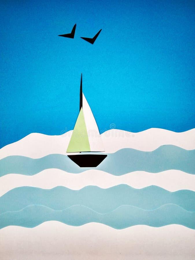 Applicazione di carta di una barca a vela sul mare e sui gabbiani fotografie stock