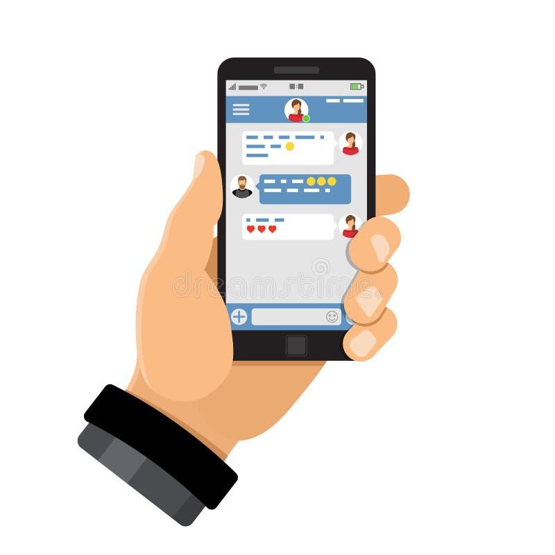Applicazione di chiacchierata sullo smartphone royalty illustrazione gratis