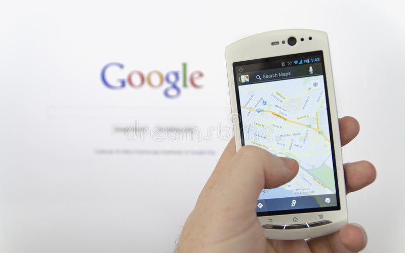 Applicazione di Google Maps fotografia stock