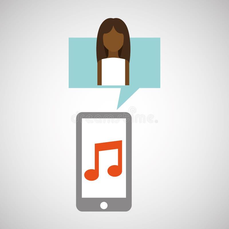 Applicazione di musica dello smartphone della donna di afro del carattere illustrazione di stock