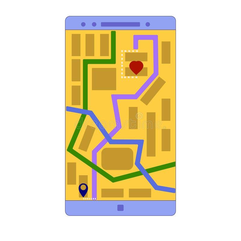 Applicazione di Smartphone che mostra lo Shortest-Path ad un caro illustrazione vettoriale
