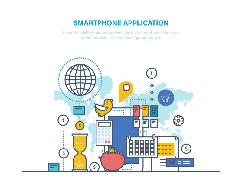 Applicazione di Smartphone software per i dispositivi mobili Domande elettroniche di telefoni illustrazione vettoriale