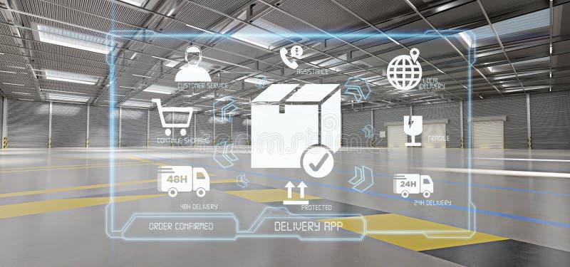 Applicazione logistica di servizio di distribuzione su un fondo del magazzino illustrazione di stock