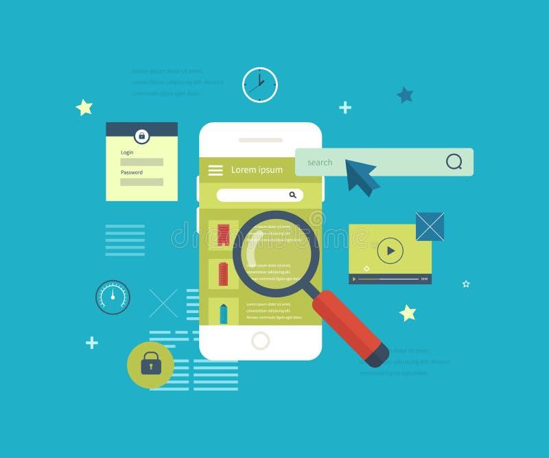Applicazione mobile da cercare il bene immobile illustrazione vettoriale