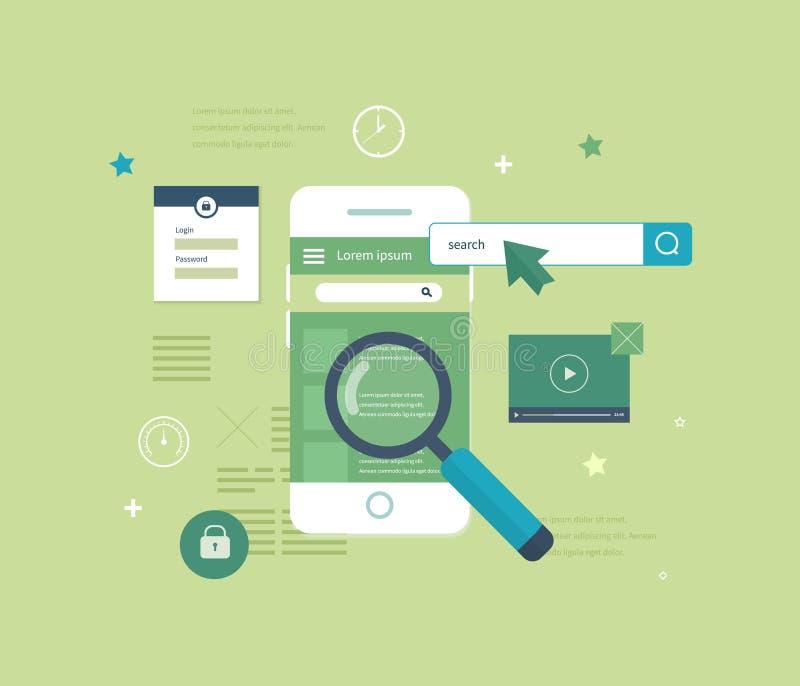 Applicazione mobile da cercare il bene immobile illustrazione di stock
