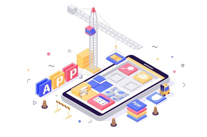 applicazione mobile di configurazione isometrica 3d con la ricerca, messaggio, regolazione, icone del libro, gru, carrello elevat illustrazione vettoriale
