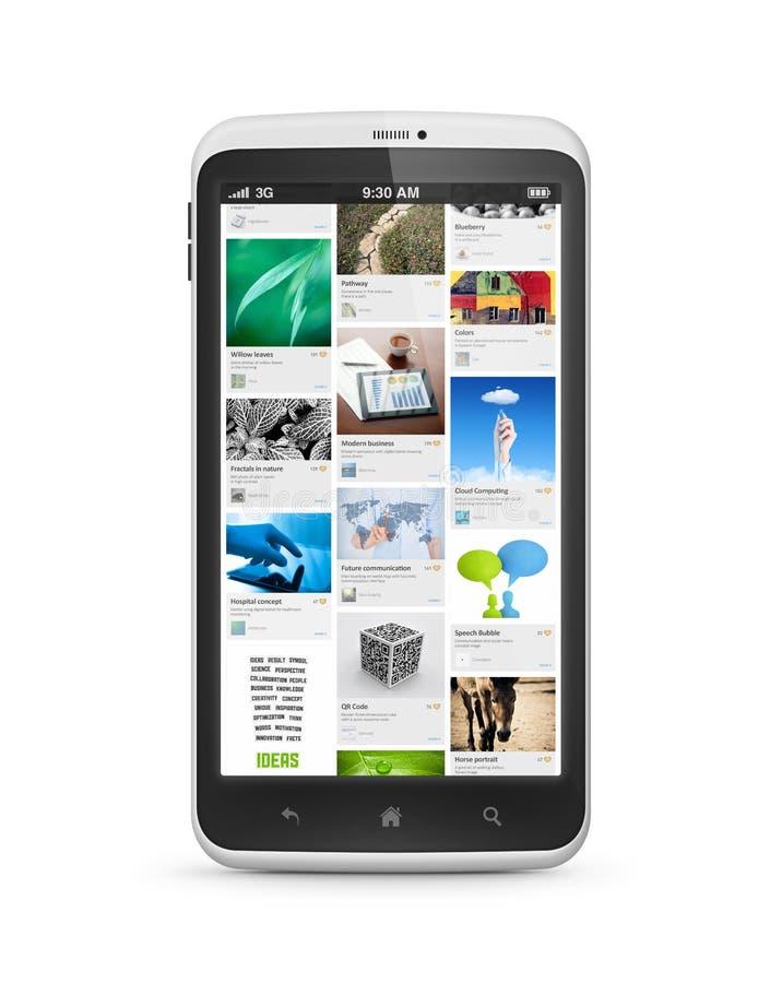 Applicazione sociale di media sullo smartphone mobile royalty illustrazione gratis