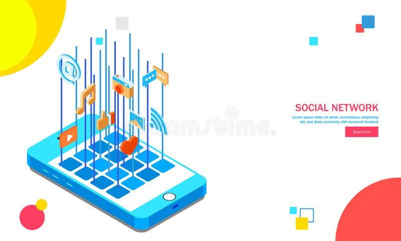 Applicazione sociale multipla di media sullo schermo isometrico dello smartphone royalty illustrazione gratis