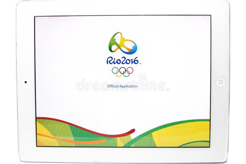 Applicazione ufficiale dei 2016 giochi olimpici di estate fotografie stock libere da diritti