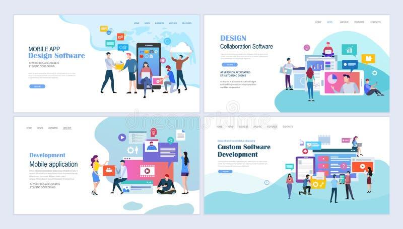 Applicazioni e sviluppo mobili di web royalty illustrazione gratis