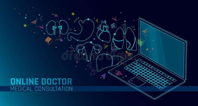 Applicazioni mediche online del cellulare di medico app Insegna di concetto di diagnosi della medicina di sanità di Digital Polmo illustrazione di stock