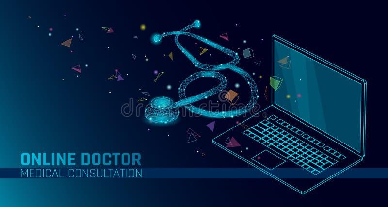 Applicazioni mediche online del cellulare di medico app Insegna di concetto di diagnosi della medicina di sanità di Digital Steto illustrazione di stock