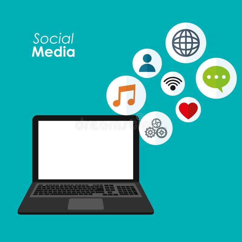 Applicazioni sociali di media del computer portatile digitali illustrazione vettoriale