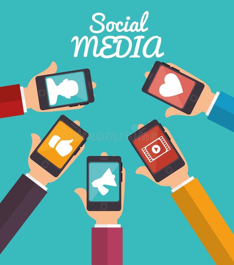 Applicazioni sociali di media dello smartphone della tenuta della mano illustrazione di stock