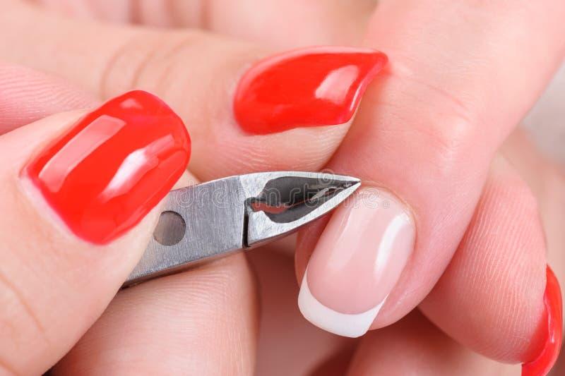 Applicera för manikyr - klippa nagelbandet royaltyfri fotografi