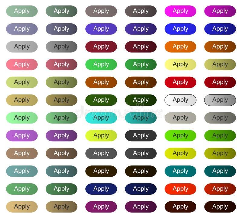 Applicera knappen för Website eller applikationen med mång- färg royaltyfri illustrationer