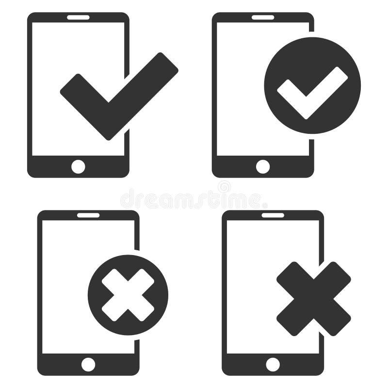 Applicera och kassera uppsättningen för symbolen för den Smartphone vektorlägenheten royaltyfri illustrationer