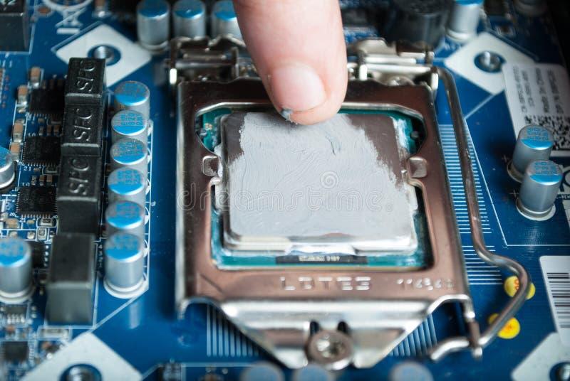 Applicera termisk deg med fingret under processorIntel i5 installation på moderkortet arkivbild