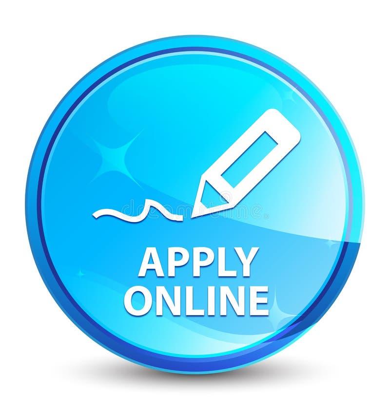 Applichi online (pubblicare l'icona della penna) il bottone rotondo blu naturale della spruzzata royalty illustrazione gratis