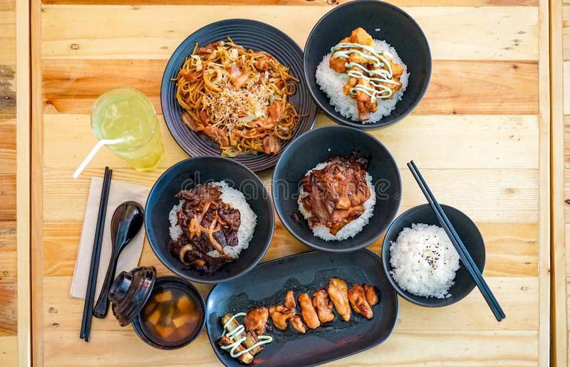 Applied Japanese tradition food set with Thai food style in the restaurant royalty free stock photos