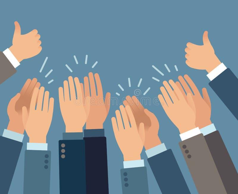 applieren Gester för applåd för applådera för händer, hälsning för framgång för lyckönskanåhöraregillande att godkänna den plana  royaltyfri illustrationer