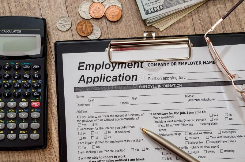 Applikation för anställning arkivbild