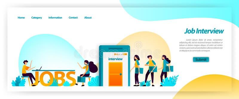 Applikation för jobbintervju, i att få bästa unga arbetare för företagslag få, finna och rekrytera och hyra anställda Vektorillus stock illustrationer