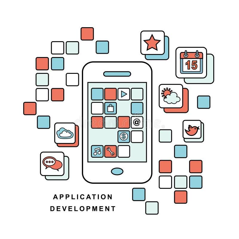 Applikation för mobiltelefon stock illustrationer