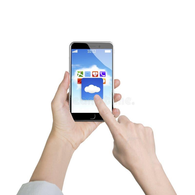 Applikation för moln för smart finger för telefon för kvinnahandinnehav rörande arkivbilder