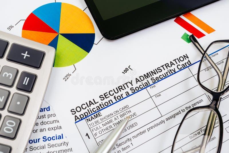 Applikation för socialförsäkring royaltyfri fotografi
