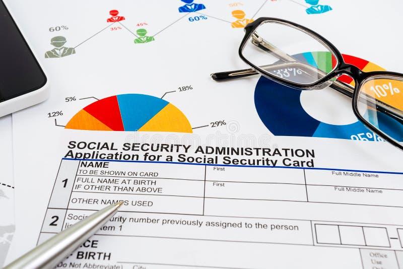 Applikation för socialförsäkring arkivfoto