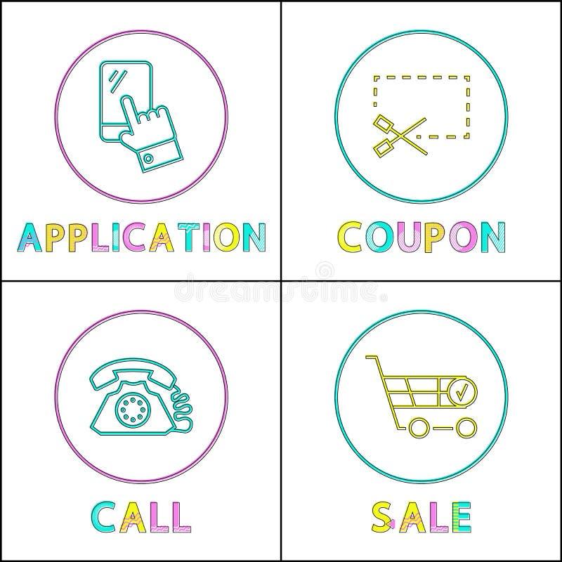 Applikation och linjära symboler för kupong, för appell och för försäljning vektor illustrationer