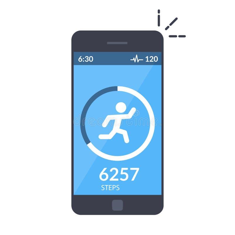 Applikation på mobiltelefonen som spårar momenten, stegräknaren App för morgonatt jogga eller kondition Begreppet av stock illustrationer