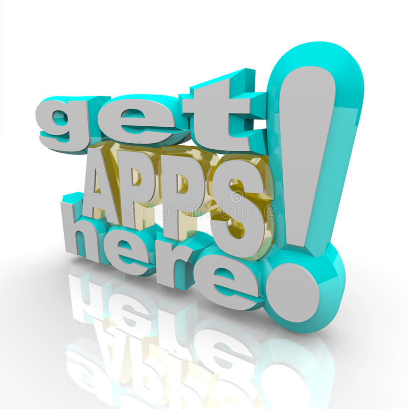 applikationapps får här marknadsplatsen stock illustrationer