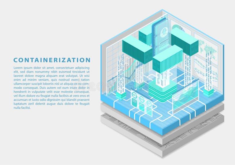 Applikationcontainerization och modulbegrepp för programvaruutveckling med symbol av smartphonen och behållare som isometrisk vec royaltyfri illustrationer