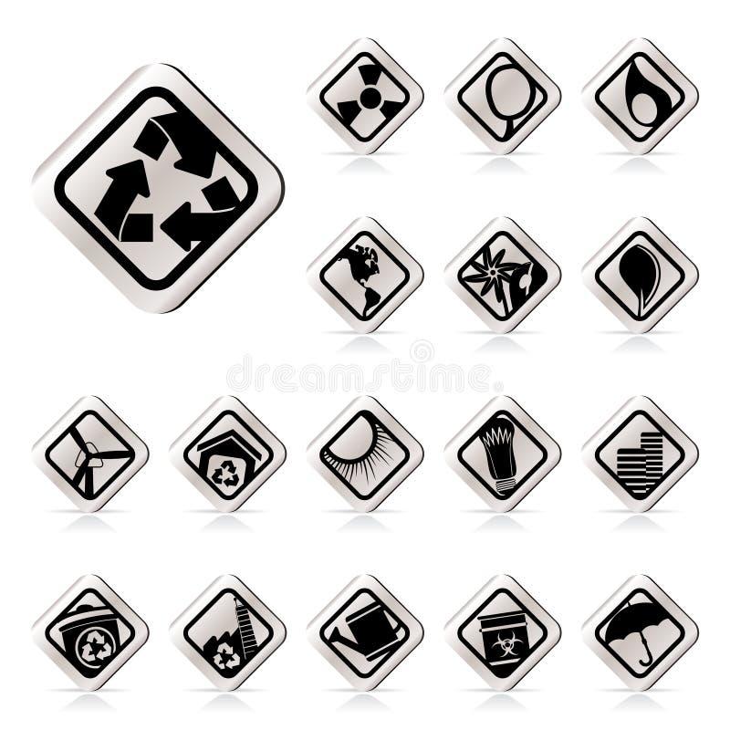 applikationekologisymboler ställde in enkel rengöringsduk royaltyfri illustrationer