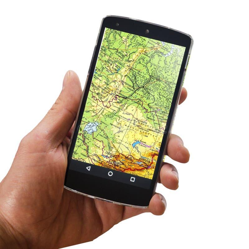 Applikationen av satellit- navigering på din telefon som finner ett ruttbegrepp, reser arkivbild