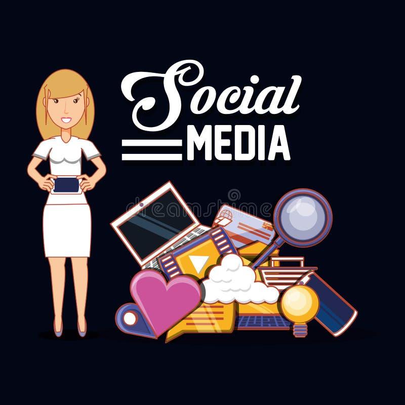 Applikationer för massmedia för hållande smartphone för kvinna sociala vektor illustrationer