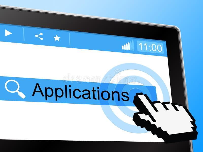 Applikationer visar direktanslutet world wide web och nätverket stock illustrationer