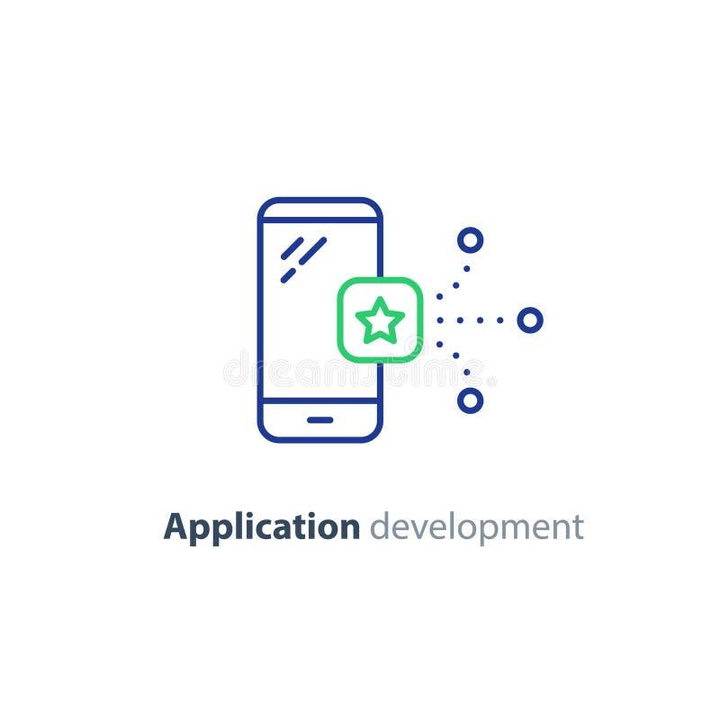 Applikationsymbol, mobil app-utvecklingsservice, smartphoneteknologi royaltyfri illustrationer