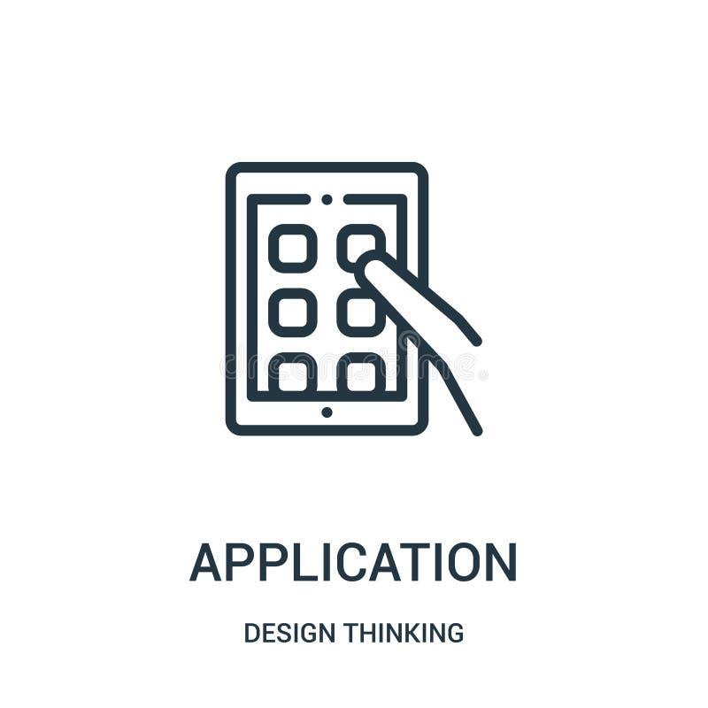 applikationsymbolsvektor från tänkande samling för design Tunn linje illustration för vektor för applikationöversiktssymbol stock illustrationer