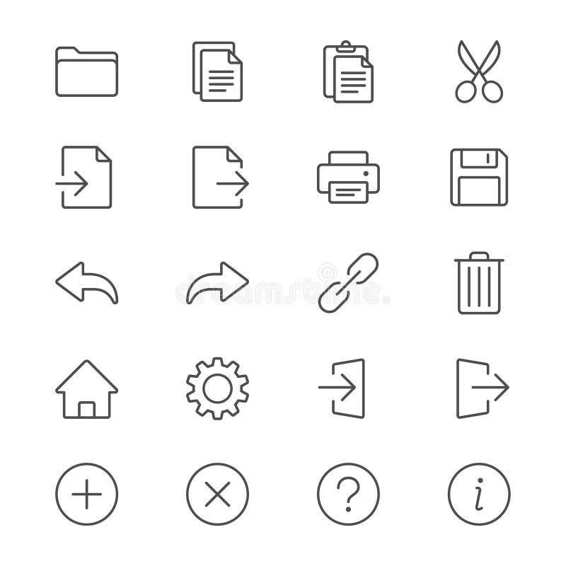 Applikationtoolbaren gör symboler tunnare royaltyfri illustrationer