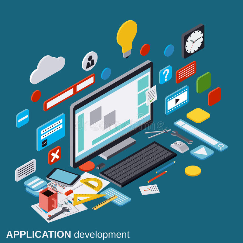 Applikationutveckling, SEO-process, algoritmoptimization, begrepp för websitekonstruktionsvektor vektor illustrationer