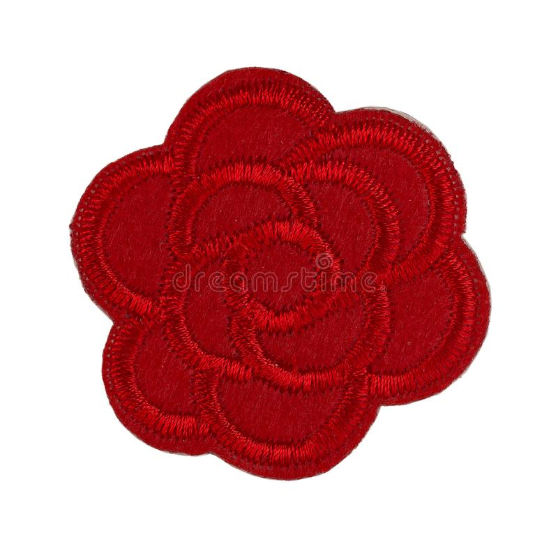 Applique, цветок ткани Изолят на белизне стоковое фото rf