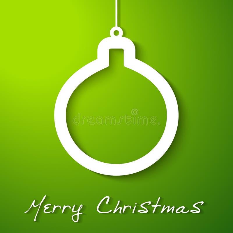 Applique branco da esfera do Natal no fundo verde ilustração do vetor