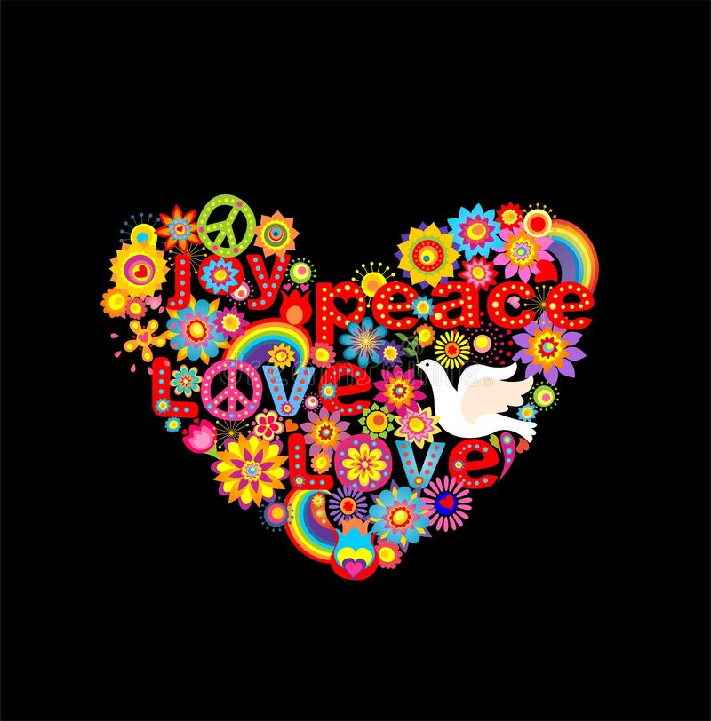 Applique with colorful flowers hippie heart and paper dove. Applique with colorful abstract flowers hippie heart and paper dove stock illustration