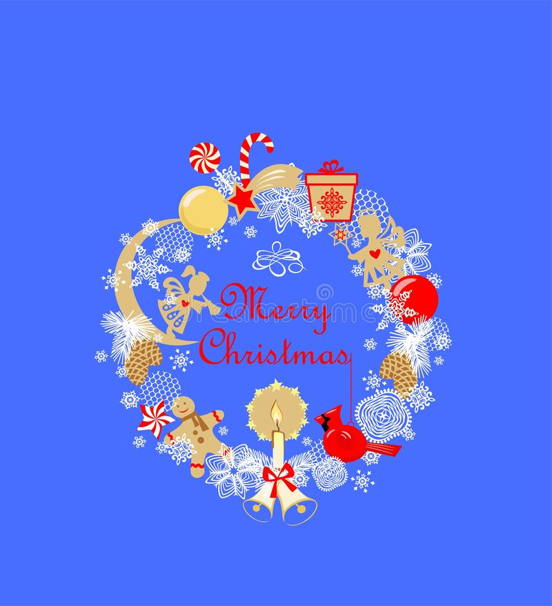 Applique criançola com anjos dourados pequenos, vela da grinalda engraçada do Natal, pão-de-espécie, bola, sino de tinir, estróbi ilustração do vetor