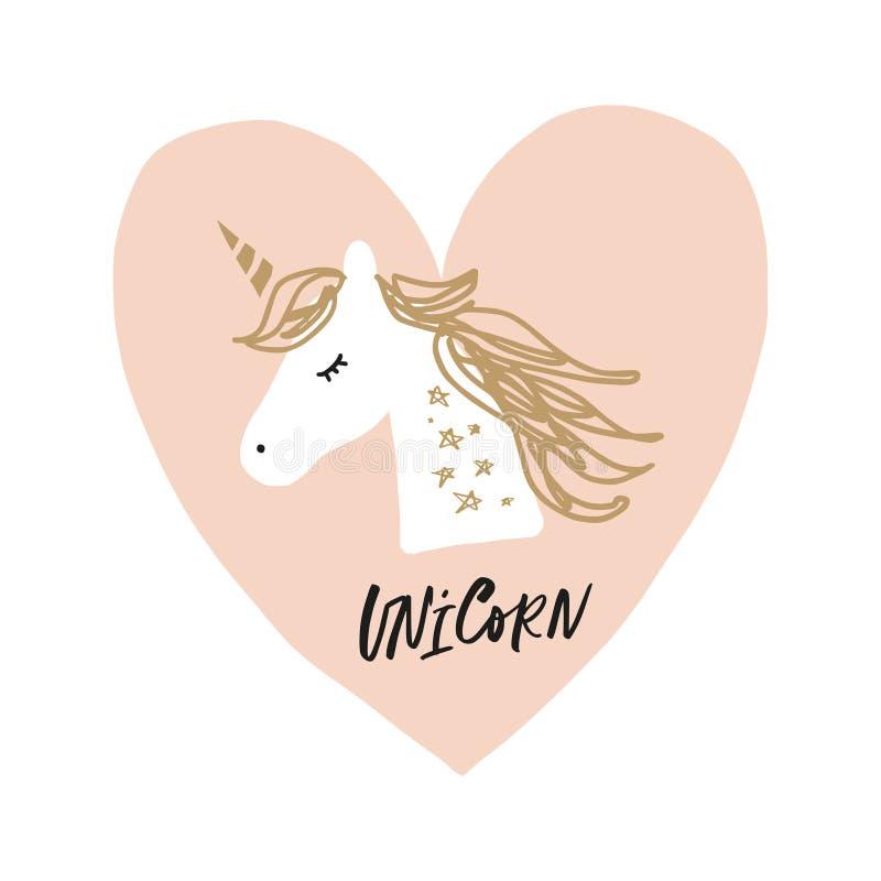 Applique dibujado mano linda del unicornio de la historieta del vector ilustración del vector