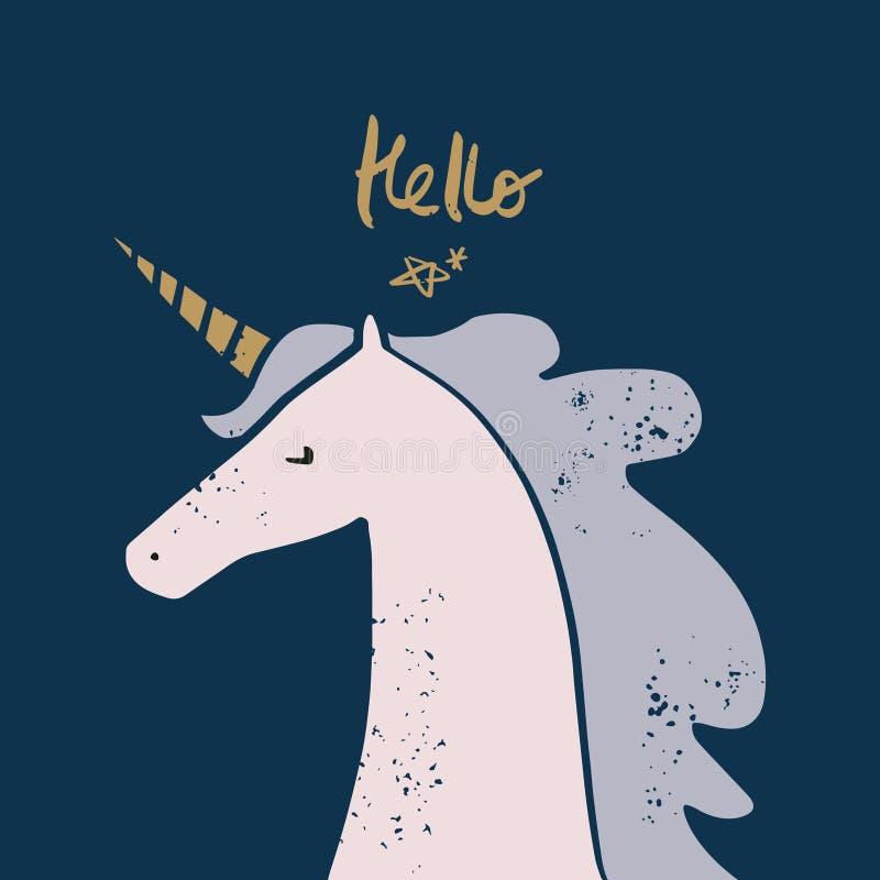 Applique dibujado mano linda del unicornio de la historieta del vector libre illustration