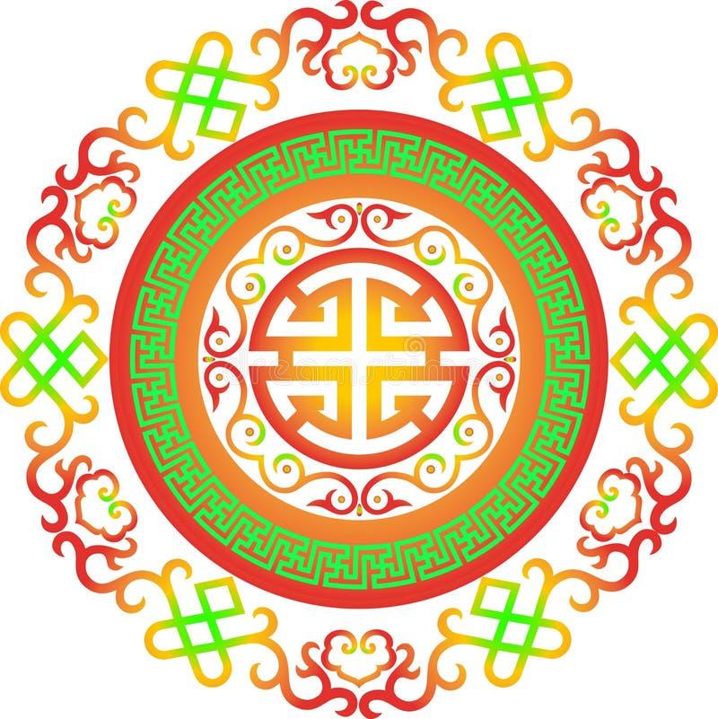 Applique floral W de l'Asie centrale d'ornement de silhouette de coupe d'élément de vintage de modèle traditionnel asiatique chin illustration libre de droits